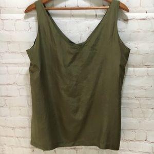 Vintage Olive Green Silk v-neck tank top Express